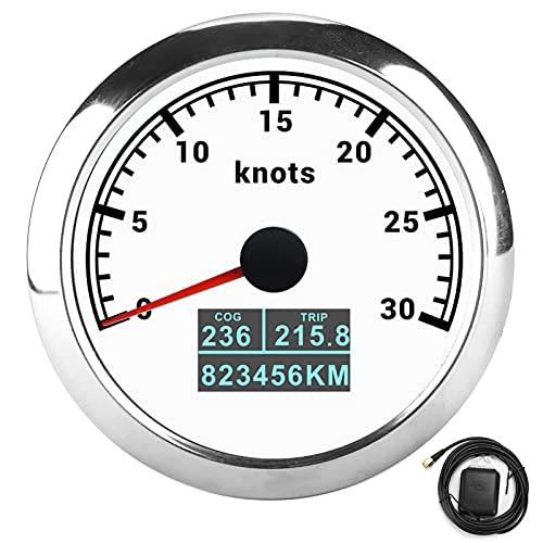 Velocímetro GPS 3 en 1 para coche con pantalla OL-ED multifuncional para automóviles, barcos 9-30 V CC(Plato blanco)