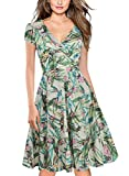 oxiuly Women's V-Neck Cap Sleeve Floral Casual Work Cocktail Swing Dress OX233 (L, Light Green)