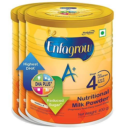 Enfagrow A+ Nutritional Milk Powder Health Drink for Children (3+ years), Vanilla 400g, Pack of 3