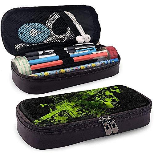 PU lederen etui met rits, groene bloem grote capaciteit opslag markeerstift houder make-up tas