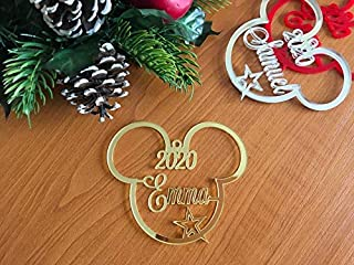 Mickey Mouse Ears Christmas Tree Decoration 2020 Ornament Personalized Name Bauble Disney Party Favor Decor 1st Xmas 2019 Gift for Kids First Birthday Gifts Hanging Cute Minnie Mouse Acrylic Ornaments
