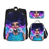 Combinación de mochila Afro black girl psychedelic colors Backpack children's school bag, lunch bag with pencil case bag set, 3 in 1 school bag set