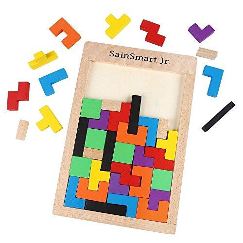 SainSmart Jr. Puzle de madera (40 unidades), diseño de tetris , color/modelo surtido