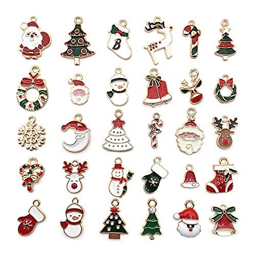 LLIU - Ciondoli natalizi con perline miste in metallo per braccialetto, ciondoli assortiti per collane e braccialetti per fai da te, decorazione per albero di Natale, regalo per bambini