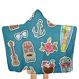 qisile Toalla de baño Cartoon Summer Travel Elements Stickers Set Hooded Beach Towels,Pool Bath Towel Soft Microfiber Multi-Purpose Poncho Swim Cover Changing Robe Fun Multi-Use For Bath Shower Pool