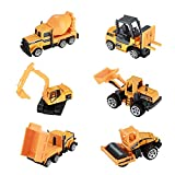 Hautton Diecast Engineering Cars Toy Vehicles, 6 Pack Alloy Metal Toys Model Cars Playset Excavator Bulldozers Road Roller Forklift Truck Toy Cars for Kids Boys Toddlers