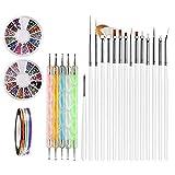Nail Art Brushes, Teenitor 3d Nail Art Paiting Polish Design Kit with 15 Nail gel Brushes, Nail...