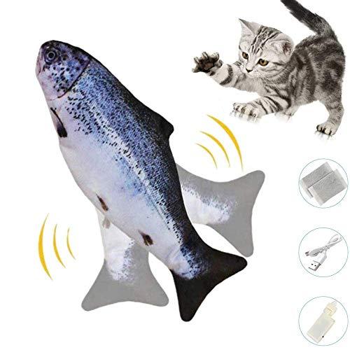 Zibnwee Katzenspielzeug, Elektrische Fische Katze, USB Katze Spielzeug Fisch mit Katzenminze für Katze und Kätzchen, Interaktive Katzenspielzeug zu Spielen, Beißen, Kauen und Treten
