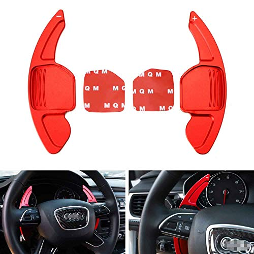 iJDMTOY Sports Red CNC Billet Aluminum Steering Wheel Larger Paddle Shifter Extension Covers Compatible With Audi A3 A4 A5 A6 A7 A8 Q3 Q5 Q7