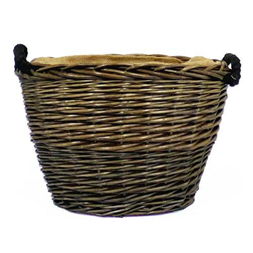 Antique Wash acabado Oval cesta para almacenamiento con forro de arpillera y asas de cuerda–Ideas de regalo para Navidad, cumpleaños, hogar
