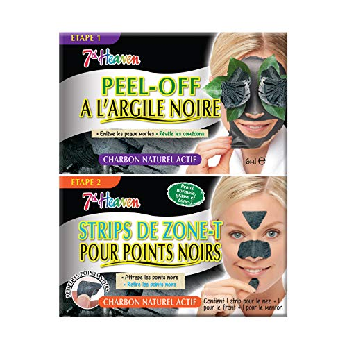 7th Heaven - Duo Pack - 1 Masque Peel-Off au Charbon de Bois et à l'Argile Noire + 1 Strip Zone-T Au Charbon - Élimine Points Noirs, Comédons et Impur