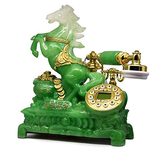 Estilo Decoración Retro Teléfono Resina Tipo de botón de Metal Jardín Moda Tipo de Asiento Creativo Oficina doméstica Europea 2 Color 330mm * 300mm * 120mm MUMUJIN (Color : Emerald)