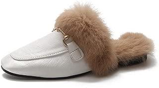 Women's Soft Slip-on Loafer Slides Squre Toe Buckle Velvet Backless Fur Mules