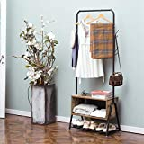 Hall Tree&Coat Rack, with Wooden Cabinet for Home,Bedroom,Living Room,Hallway,Entryway,5 in 1 Wood Look Accent Furniture Metal Frame(Black&Rustic Brown)