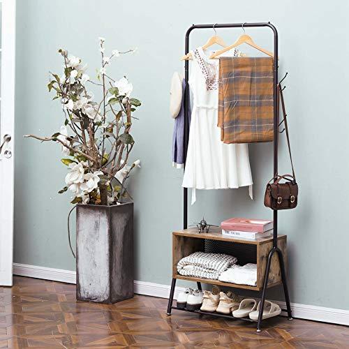 Hall Tree&Coat Rack with Wooden Cabinet for HomeBedroomLiving RoomHallwayEntryway5 in 1 Wood Look Accent Furniture Metal FrameBlack&Rustic Brown
