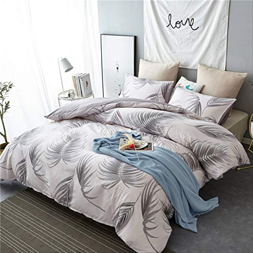 YALINA Bedding Quilt Cover And Pillowcase Set, Printed Polyester Quilt Cover Is Fashionable, Simple And Comfortable 180 * 210cm gray