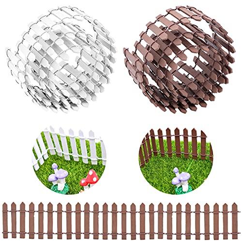 Cisolen 2 Piezas Decoración de Jardín Pequeña Valla de Madera Valla de Jardín en Miniatura Mini Valla de Madera para Jardín Decoraciones Bricolaje