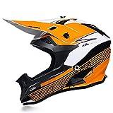 QAZWSオフロードヘルメットオートバイヘルメットレーシングヘルメット大人用オフロード車両DOT屋外フルフェイスオフロード車両用ヘルメットオフロードオートバイヘルメット(4枚セット) (M,オレンジホワイト)