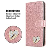 iPEAK For Huawei P Smart 2021 Case Shiny Leather Bling Glitter Book Card Holder Flip Stand Wallet Cover For P Smart 2021 Phone (Rosegold)