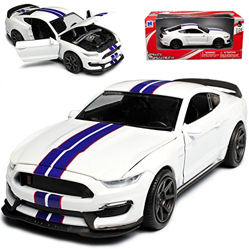 New Ray Ford Shelby Mustang GT350R VI Coupe Weiss mit Blauen Streifen Ab 2014 1/24 Modell Auto