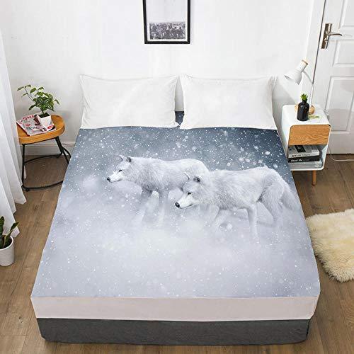 lhmlyl Bed Sheet 3D Digital Printing Factory 360 Degree Li Mattress Protector Animal Wolf-Wolf 041-White-F_198X203X40Cm