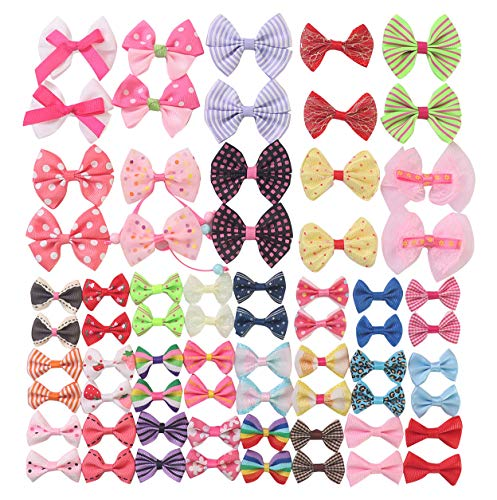 YAKA68pcs(34pairs) Mix Grosgrain Ribbon Mini Bow Ties Craft Rose Appliques Craft Wedding Hair Bow DIY Decor 34Color (Style3)