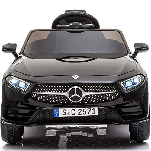 Little Brown Box Kids 12V Licensed Mercedes Benz CLS Ride on Car,Driving Battery Operated Vehicle Toy W/ Parent Remote-Control,Music,Sounds& Lights - for Toddler,Baby,Children,1,2,3 Years Old - Black