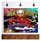 70's and 80's Soul Train Neon Glow Theme Photo Background 7x5ft Singing Old Fashioned Dance Disco Dancing Prom Photography Backdrops Let's Glow Crazy in The Dark Neon Glow Studio Shoot Props Vinyl