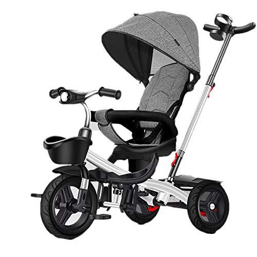 Bicicleta infantil de 1-3-5-2-6 años de edad, luz para bebé, silla de paseo reclinable, rotación bidireccional con música (color: gris)
