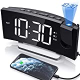 Clock Radios, WELLBOX Projection Alarm Clock with 0-100% Dimmer and FM Radio, Dual Alarm, 5 Selectable Alarm Sounds and 3-Level Volume, USB Charger, Large and Clear Readout Digital Clock for Bedroom
