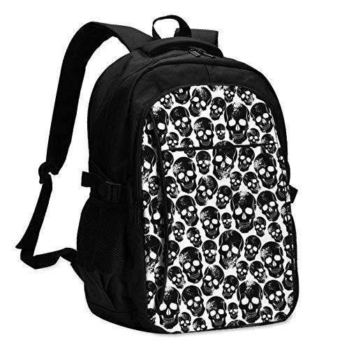 XCNGG Mochila USB con múltiples Bolsillos, Mochila Informal, Mochila Escolar Evil Human Skull Unisex Travel Laptop Backpack with USB Charging Port School Anti-Theft Bag