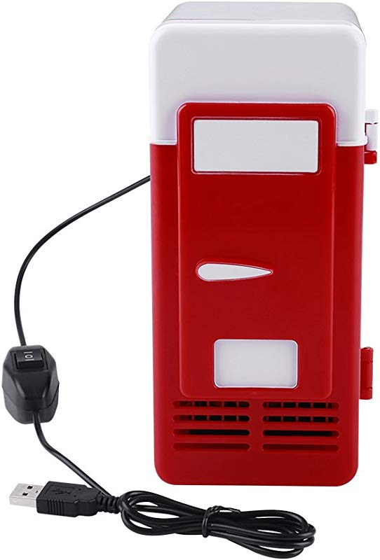 Mini USB Refrigerator Cooler Beverage Drink Cans Refrigerator And Heater For Office Desktop Hotel Home Car Red