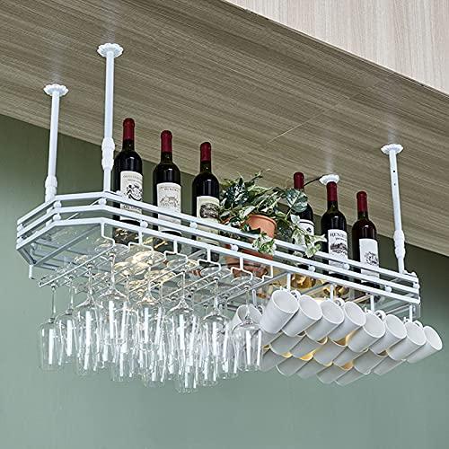 CGF- Soportes para Copas Estante de Pared para Bar de vinos, con Soporte de Vidrio y Estante, Estante de Vidrio de Barra Colgante y Soporte de Botella Colgante Altura Ajustable 30~60 cm