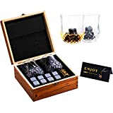 Whiskey Stones and Glasses Gift Set, Crystal Old Fashioned Whiskey Glasses Set of