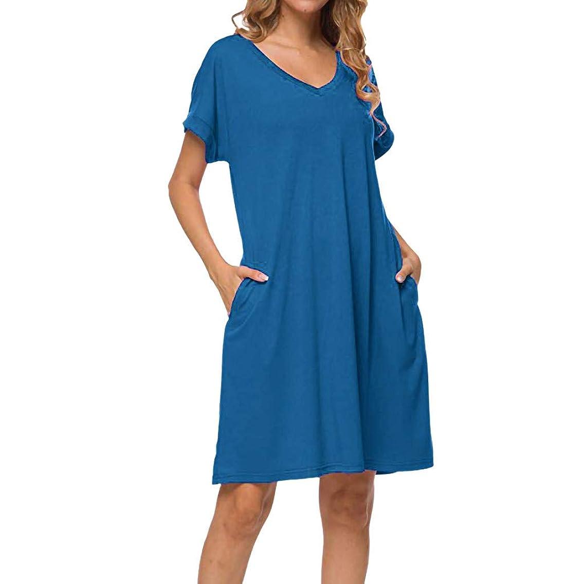 Tantisy ??? Women's V-Neck and O-Neck Cotton Casual Dress Short Sleeve Basic Plain Summer Ladies Dresses
