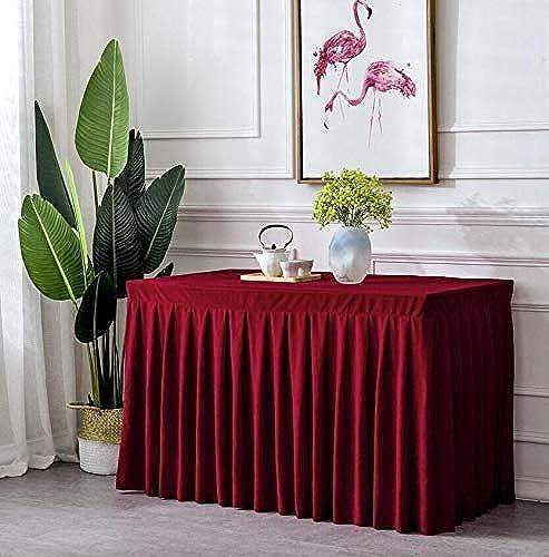 Nappe Haut de Gamme Zhuo Jupe Bureau Réunion Nappe Or Velours Vaisselle Fête Mariage Anniversaire Fête Décoration (Couleur  Bourgogne, Taille  60X180cm)