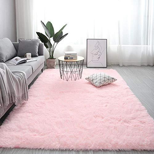 Effortsmy Alfombra esponjosa para sala de estar, alfombra de felpa, antideslizante, rectangular, suave, tamaño grande, para dormitorio, tapis y salón