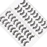 PURELEOR 3D Faux Mink Eyelashes 10 Pairs Natural & Dramatic False Lashes Long Fluffy Eyelash Volume Eye Lash Packs