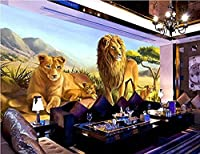 カスタム3D大型屋内壁画壁紙動物ライオン背景壁紙壁3D-150x120cm