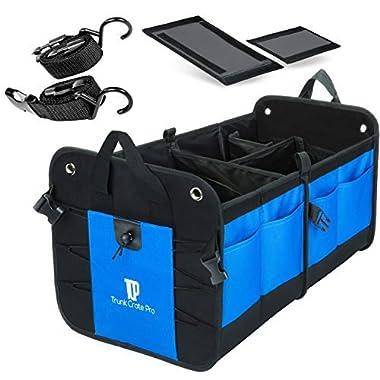 TrunkCratePro Collapsible Portable Multi Compartments Heavy Duty Non-Slip Cargo Trunk Organizer Storage, Blue