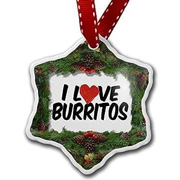 pansy Novelty Christmas Decorations I Love Burritos Ornament Craft Crafts Xmas Tree Hanging