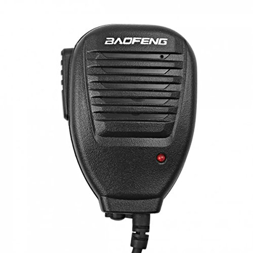 Baofeng - Microfono per altoparlante remoto a 2 pin, compatibile con UV-5R UV-5RE UV-5R Plus GT-3TP GT-5TP H-777 BF-888S Kenwood/WouXun/Retevis radio bidirezionale Walkie Talkie, colore: Nero