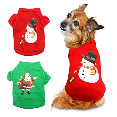 HYLYUN 2 Pieces Dog Christmas Clothes - Small Dog Christmas Shirt Puppy Pet Santa & Snowman Costume for Small Dogs and Cats XS