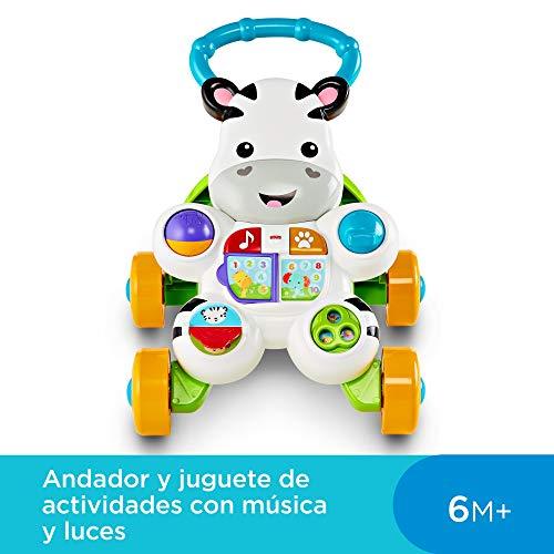 Fisher-Price- Andador Cebra Parlanchina Primeros Pasos, Correpasillos Bebé +6 Meses, Multicolor (Mattel DLD87)