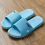 Antideslizante Zapatillas Baño,Zapatillas de verano de suela gruesa para interiores de tamaño extragrande, sandalias y zapatillas de suela blanda de baño antideslizantes para parejas-Sky_blue_40-41