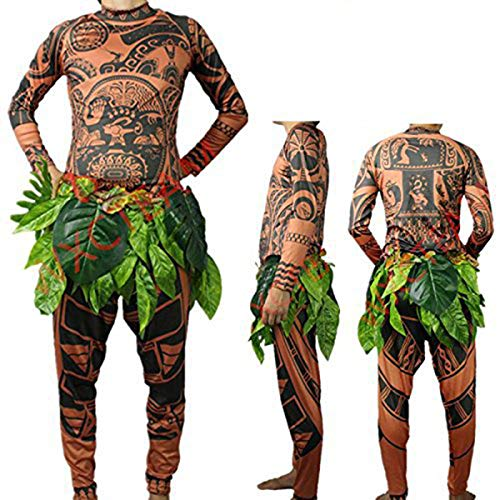 Herren Moana Maui Tattoo T Shirt / Hosen mit Bl?ttern Rock Halloween Adult Cosplay Kostüme (Large, Brown)