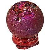 TUMBEELLUWA Druzy Agate Geode Gemstone Titanium Coated Aura Quartz Healing Crystal with Wood Stand Home Decoration,Sphere Ball Shape,Purple