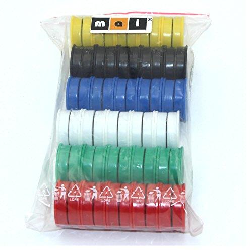Mai® - Imanes redondos de colores para pizarras magnéticas, pizarras blancas y frigoríficos, 60 unidades, 24 mm, 6 colores