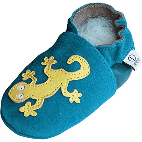 Lappade Lauflernschuhe Hausschuhe Krabbelschuhe Baby mit Gummisohle Gr.19-31 Geckos Blau Wildleder 233G (19/20 EU)