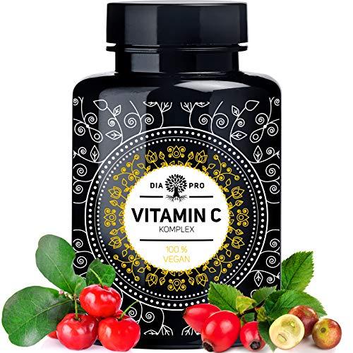 DiaPro Natürliches Vitamin C Komplex hochdosiert aus Acerola Hagebutte Camu Camu Extrakt 240 vegane Kapseln für 4 Monate